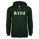 Dark Green Fleece Full Zip Hoodie-Siena