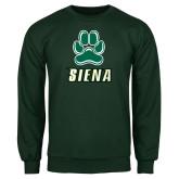 Dark Green Fleece Crew-Siena w/Paw