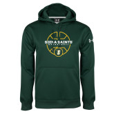 Under Armour Dark Green Performance Sweats Team Hoodie-Basketball Court Design