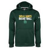 Under Armour Dark Green Performance Sweats Team Hoodie-Siena Saints Basketball