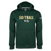 Under Armour Dark Green Performance Sweats Team Hoodie-Distressed Softball