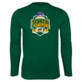 Performance Dark Green Longsleeve Shirt-2016 MAAC Mens Golf Champions