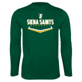 Performance Dark Green Longsleeve Shirt-Baseball Plate Design