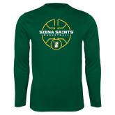 Performance Dark Green Longsleeve Shirt-Basketball Court Design