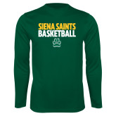 Performance Dark Green Longsleeve Shirt-Siena Saints Basketball