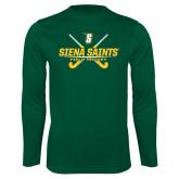Performance Dark Green Longsleeve Shirt-Field Hockey Crossed Sticks