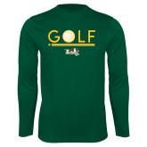 Performance Dark Green Longsleeve Shirt-Golf Ball Design