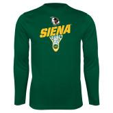 Performance Dark Green Longsleeve Shirt-Lacrosse Stick Design