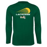 Performance Dark Green Longsleeve Shirt-Modern Lacrosse Design