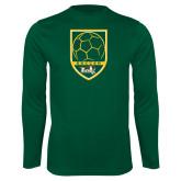 Performance Dark Green Longsleeve Shirt-Soccer Shield Design