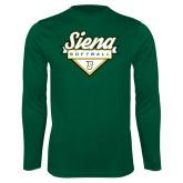 Performance Dark Green Longsleeve Shirt-Softball Plate Design