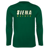 Performance Dark Green Longsleeve Shirt-Siena Saints