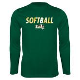 Performance Dark Green Longsleeve Shirt-Distressed Softball