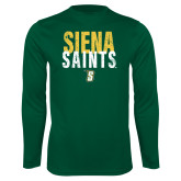Performance Dark Green Longsleeve Shirt-Siena Saints Stacked