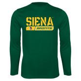 Performance Dark Green Longsleeve Shirt-Siena Saints Bar Design