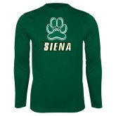 Performance Dark Green Longsleeve Shirt-Siena w/Paw
