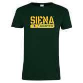 Ladies Dark Green T Shirt-Siena Saints Bar Design