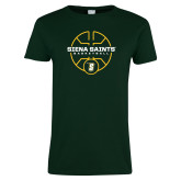 Ladies Dark Green T Shirt-Basketball Court Design