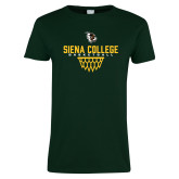 Ladies Dark Green T Shirt-Basketball Sharp Net