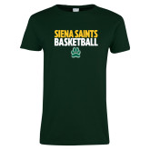 Ladies Dark Green T Shirt-Siena Saints Basketball