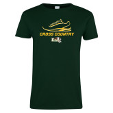 Ladies Dark Green T Shirt-Cross Country Shoe Design