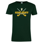 Ladies Dark Green T Shirt-Field Hockey Crossed Sticks