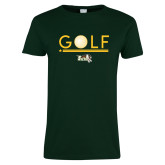 Ladies Dark Green T Shirt-Golf Ball Design