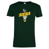 Ladies Dark Green T Shirt-Lacrosse Stick Design