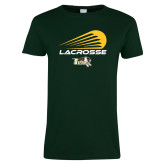 Ladies Dark Green T Shirt-Modern Lacrosse Design