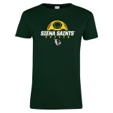 Ladies Dark Green T Shirt-Soccer Ball Design