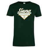 Ladies Dark Green T Shirt-Softball Plate Design