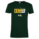 Ladies Dark Green T Shirt-Tennis Abstract Net