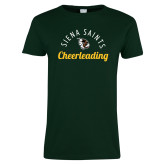 Ladies Dark Green T Shirt-Cheerleading Script Design