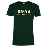 Ladies Dark Green T Shirt-Cheerleading