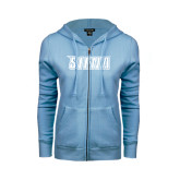 ENZA Ladies Light Blue Fleece Full Zip Hoodie-Siena