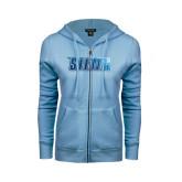 ENZA Ladies Light Blue Fleece Full Zip Hoodie-Siena Foil