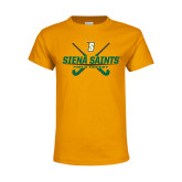 Youth Gold T Shirt-Field Hockey Crossed Sticks