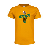 Youth Gold T Shirt-Lacrosse Stick Design