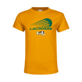 Youth Gold T Shirt-Modern Lacrosse Design