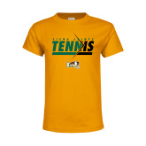 Youth Gold T Shirt-Tennis Abstract Net