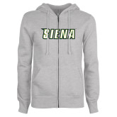 Ladies Grey Fleece Full Zip Hoodie-Siena