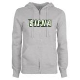 Ladies Grey Fleece Full Zip Hoodie-Siena