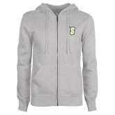 Ladies Grey Fleece Full Zip Hoodie-S