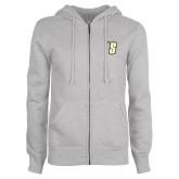 Ladies Grey Fleece Full Zip Hoodie-S