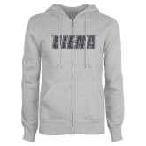 ENZA Ladies Grey Fleece Full Zip Hoodie-Siena Graphite Soft Glitter