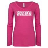 ENZA Ladies Hot Pink Long Sleeve V Neck Tee-Siena