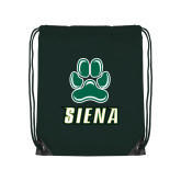 Dark Green Drawstring Backpack-Siena w/Paw