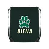 Dark Green Drawstring Backpack-Siena w/Paw