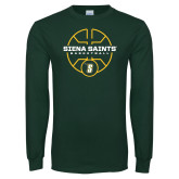 Dark Green Long Sleeve T Shirt-Basketball Court Design