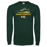 Dark Green Long Sleeve T Shirt-Cross Country Shoe Design